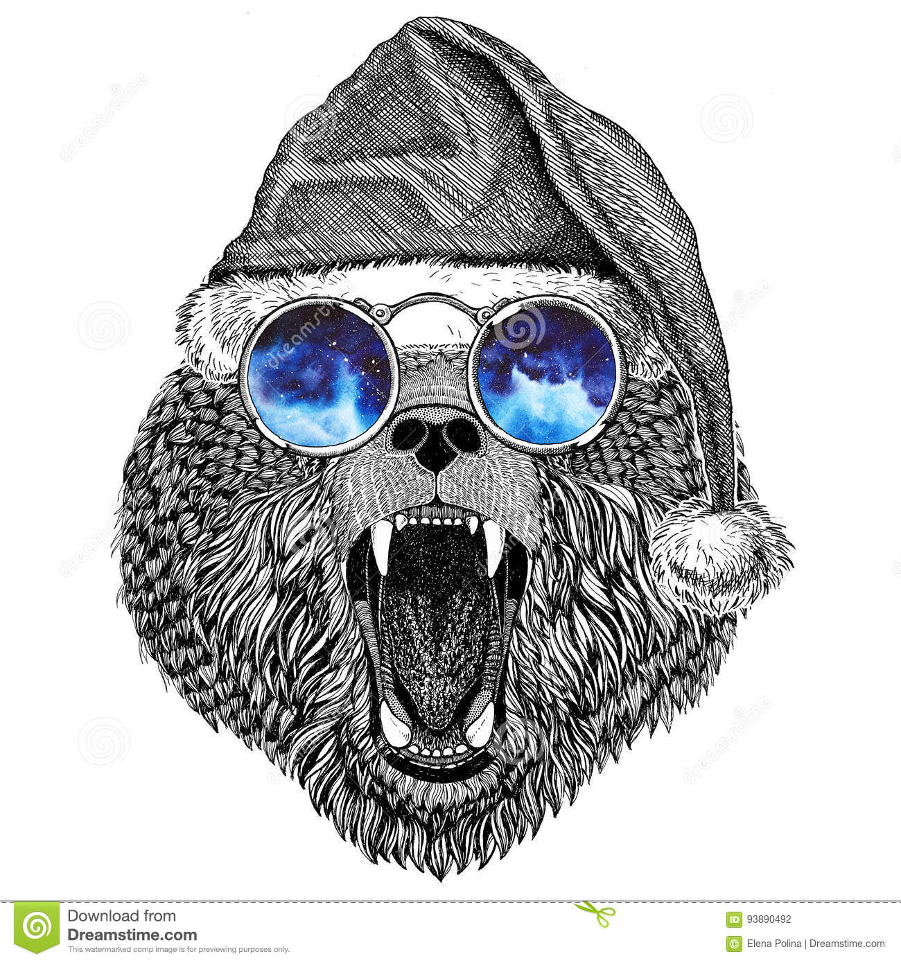 Brown Bear Russian Bear Wearing Christmas Hat New Year Eve ...