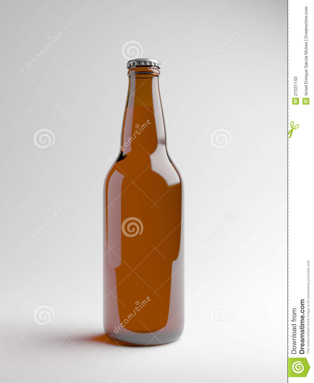 Render of a brown beer bottle over a white background