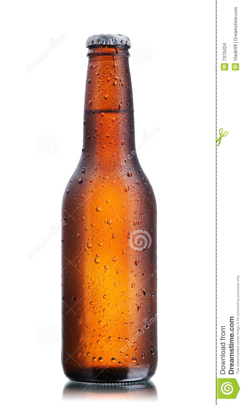 Brown beer bottle back lighted with drops and condensation