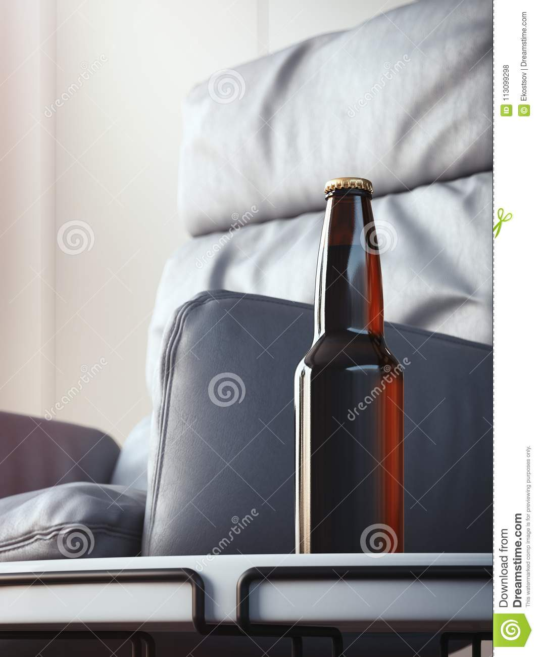 Admirable Brown Beer Bottle On Coffee Table In Cozy Interior 3D Alphanode Cool Chair Designs And Ideas Alphanodeonline