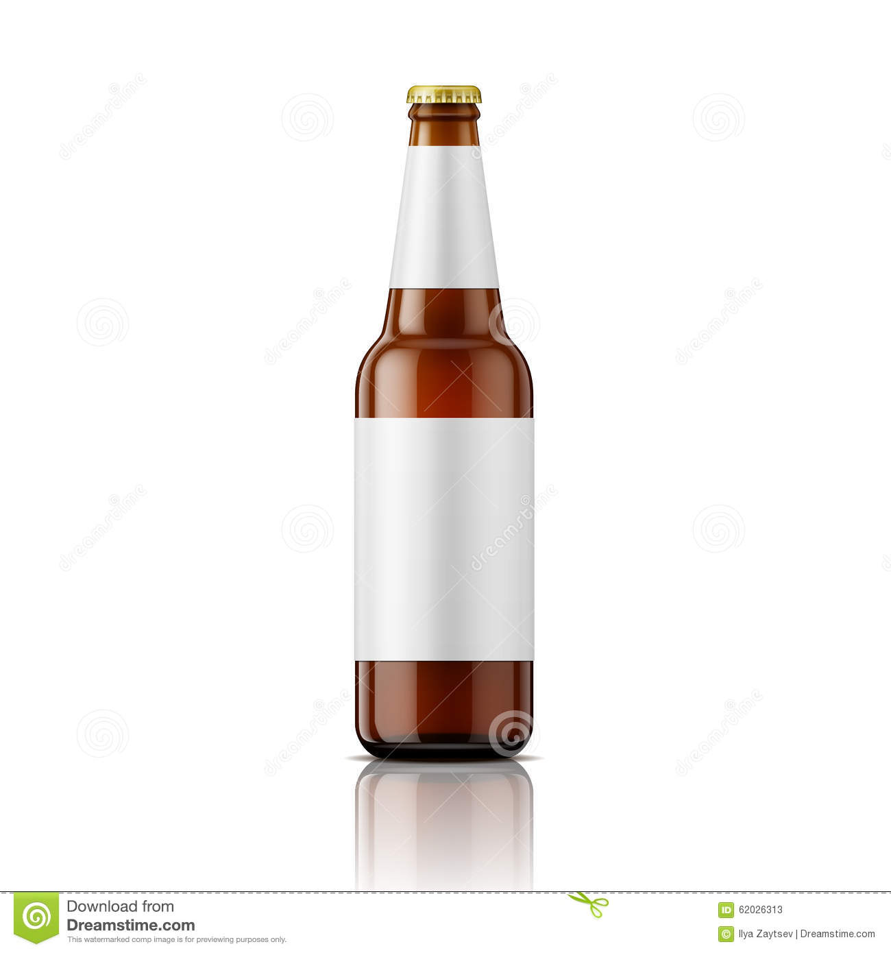 brown beer bottle with labels template stock vector illustration