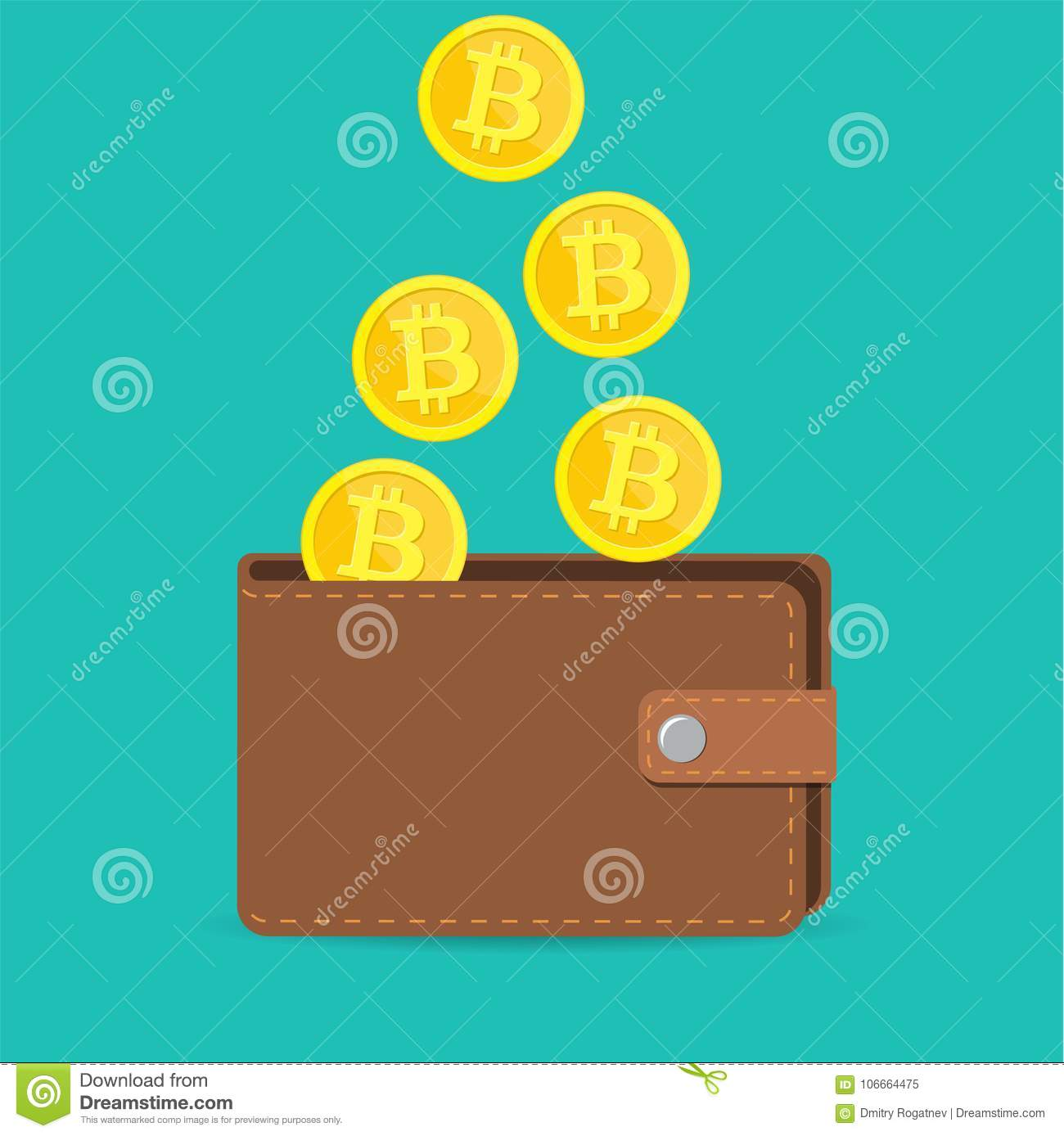 Brown bitcoin wallet with coins stock vector illustration of label download brown bitcoin wallet with coins stock vector illustration of label digital 106664475 ccuart Choice Image
