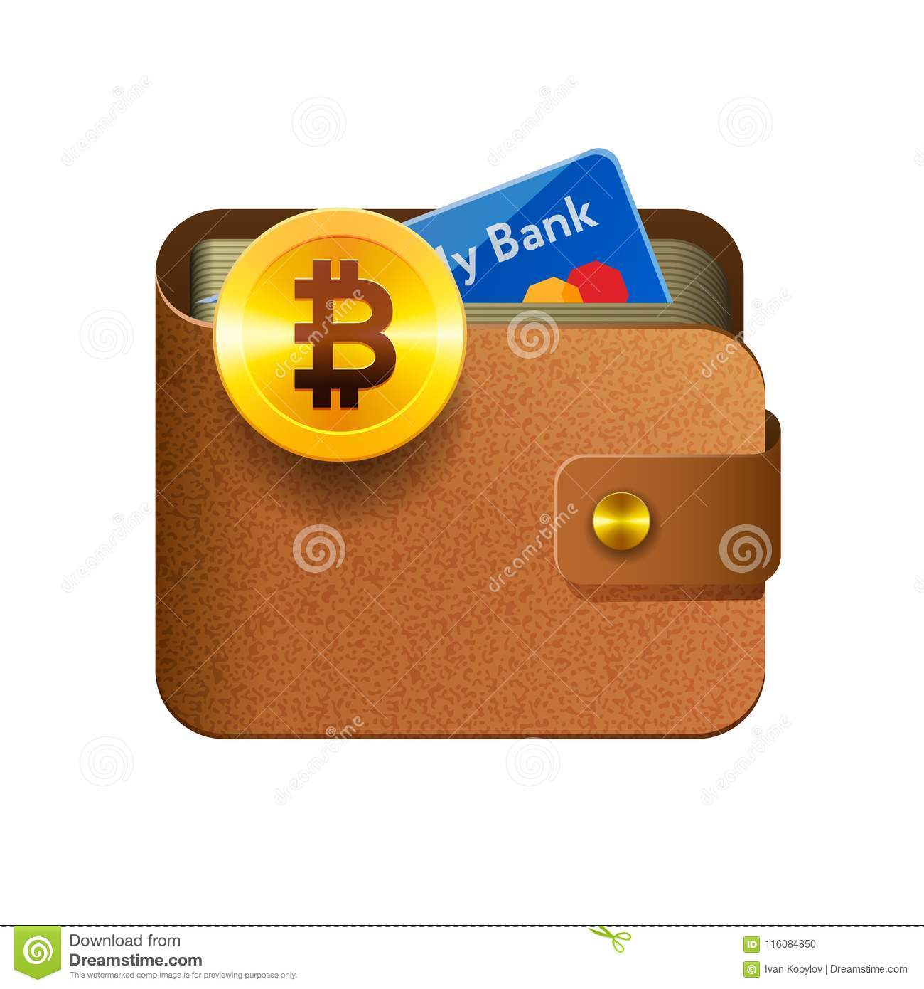 Download Brown Bitcoin Wallet Icon With Coin And Credit Card Isolated Background Vector Illustration