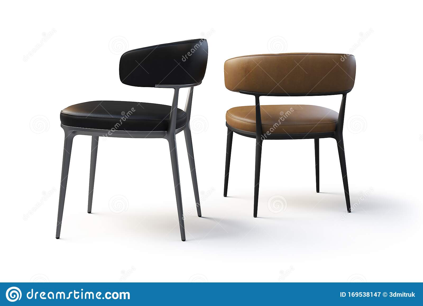 Picture of: Brown And Black Leather Chairs With Metal Legs 3d Render Stock Illustration Illustration Of Leather Design 169538147