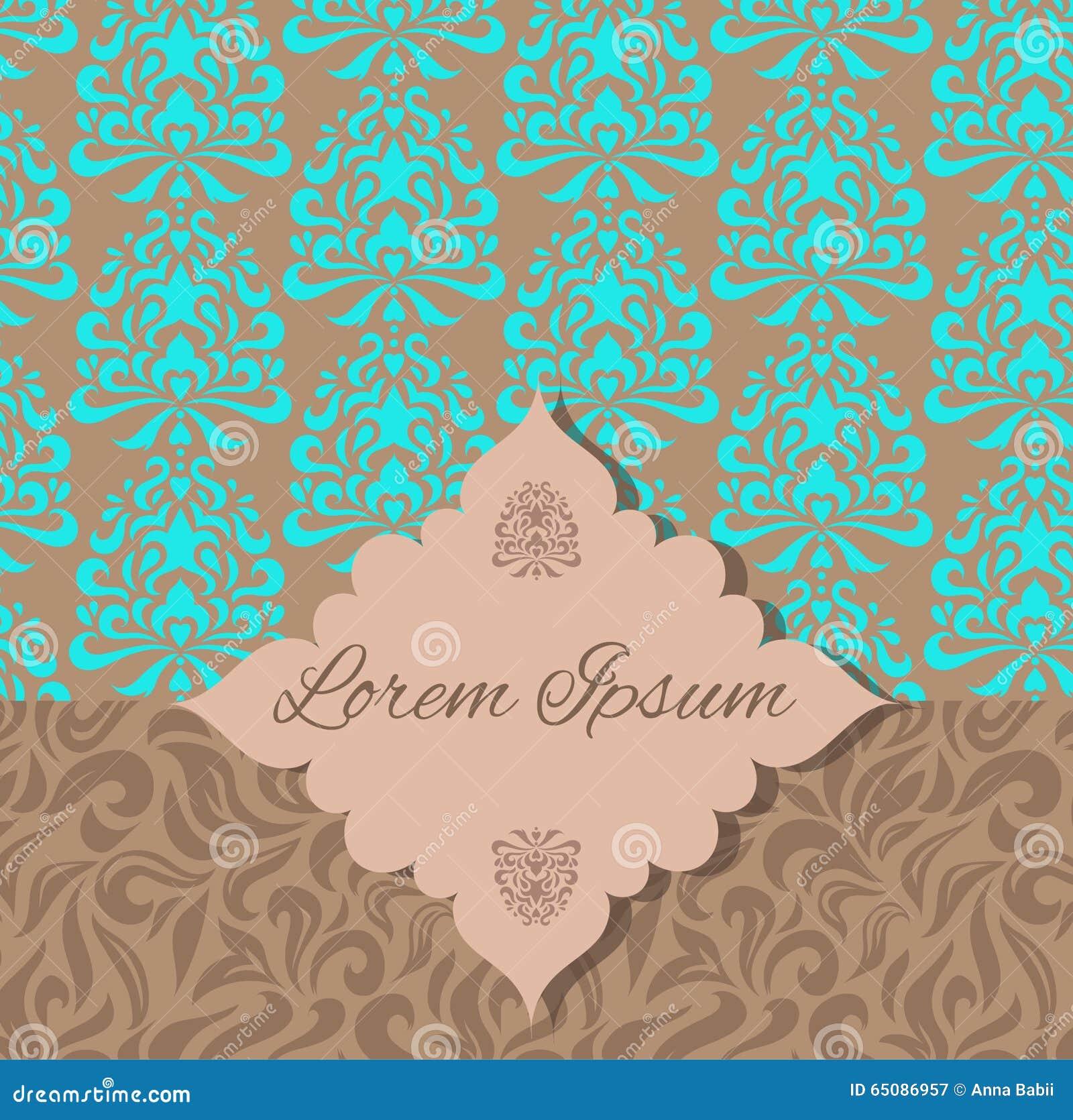 brown blue damask pattern invitation stock vector illustration of