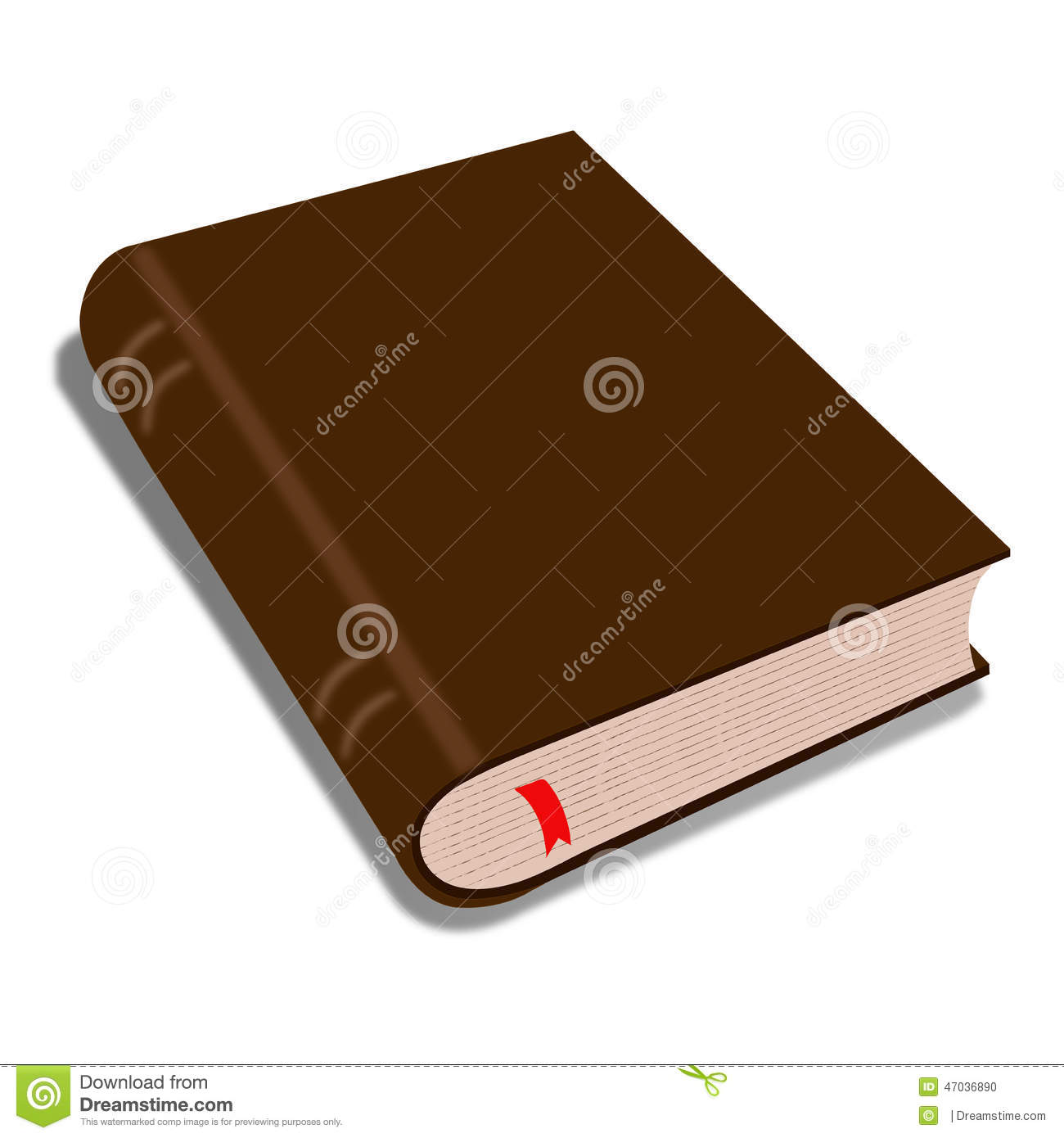 Brown Book Isolated On White/ Illustration Of A Cartoon ...