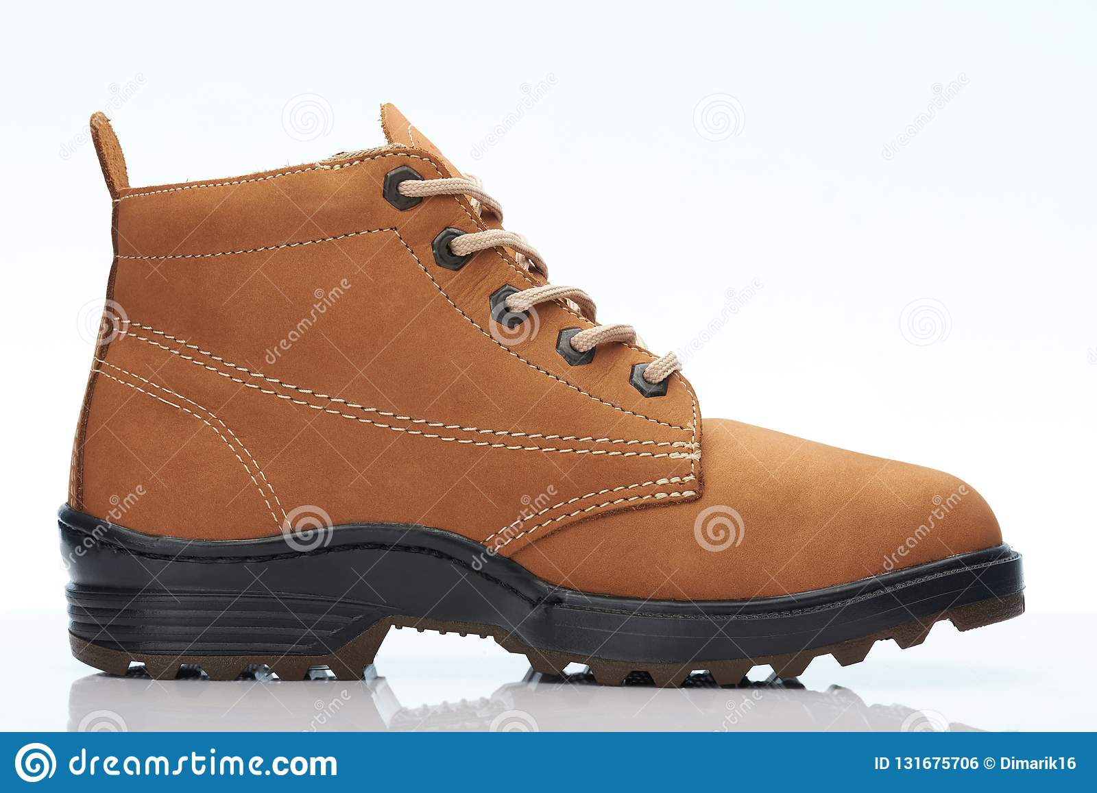 hot sale running shoes order online Brown boot with black sole stock photo. Image of high ...