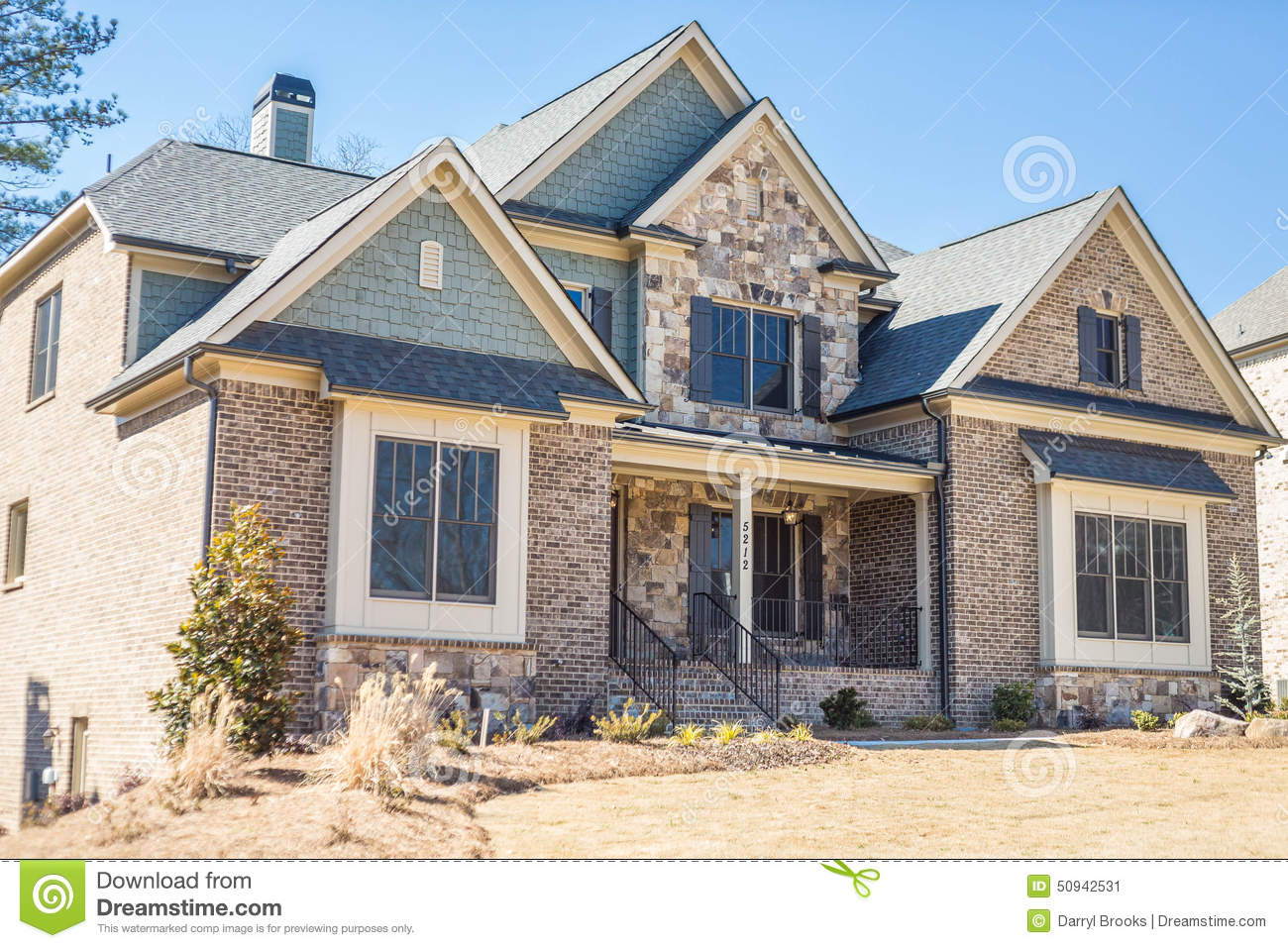 Brown Brick Stone And Slate House Stock Image Image Of