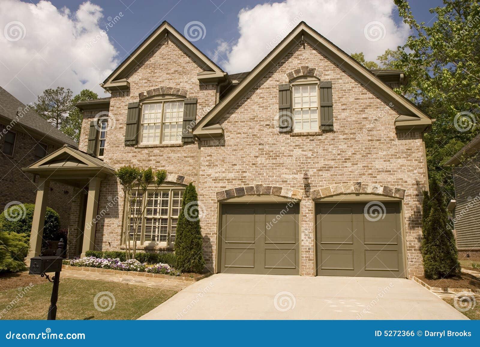 Brown brick two car garage royalty free stock image for Brick garages prices