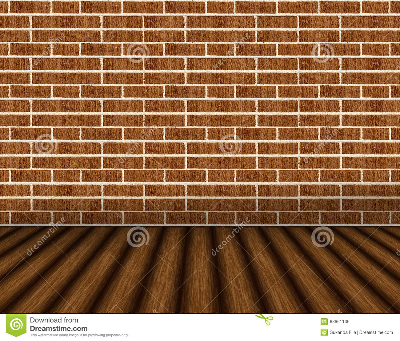 Interior Brick Flooring Pricing : Brown brick wall and wooden floor background stock photo