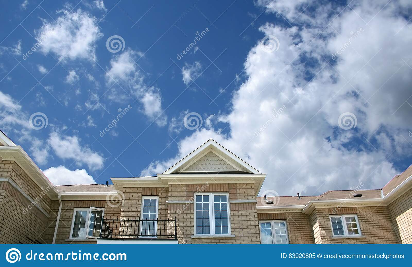 Download Brown Bricked House Under Cloudy Skies Stock Image - Image of building, free: 83020805