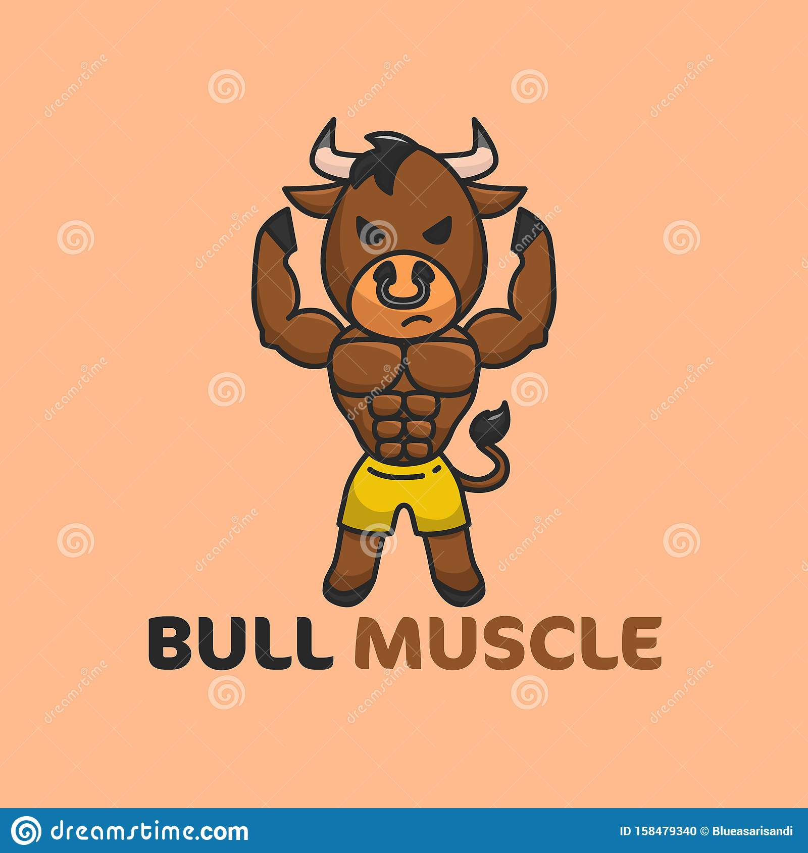 Brown Bull Muscle Illustration good for Gym or fitness Logo Template