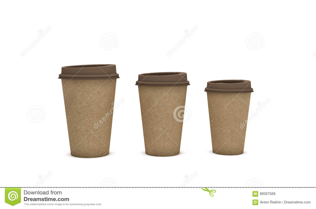 8818b5f6dbd Brown cardboard coffee cups on light background with a copy space for text,  ecology concept, 3d illustration.