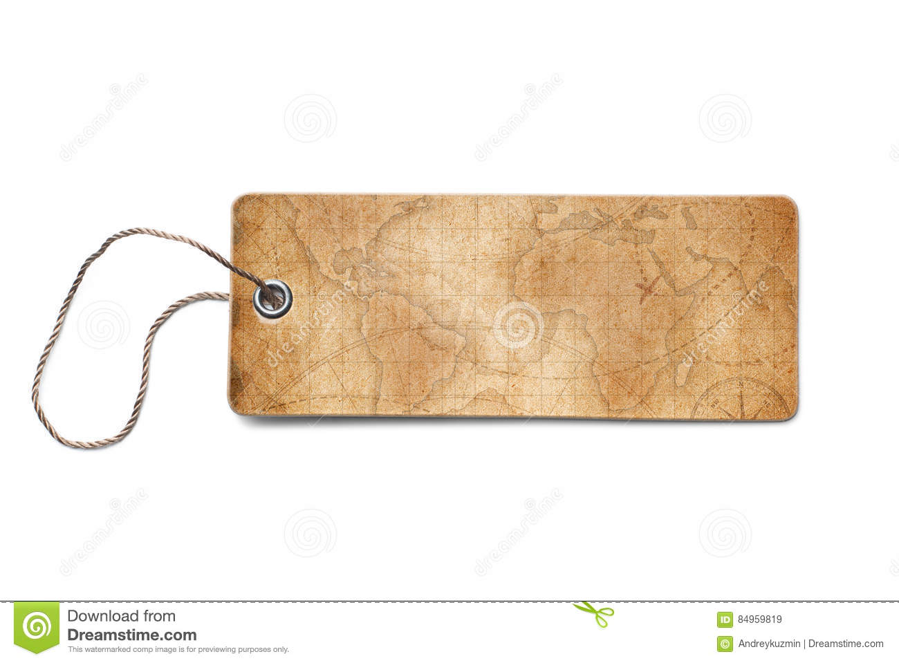 Brown Cardboard Tags With World Map Piece Stock Image - Image of ...
