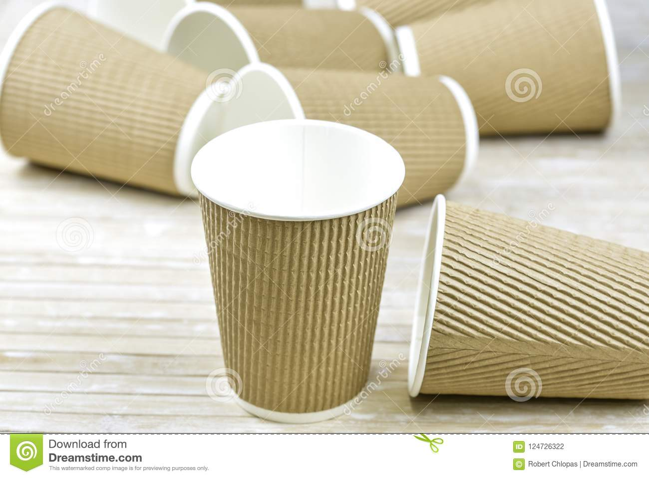 Brown Cardboard Take Away Paper Cups Stock Photo - Image of