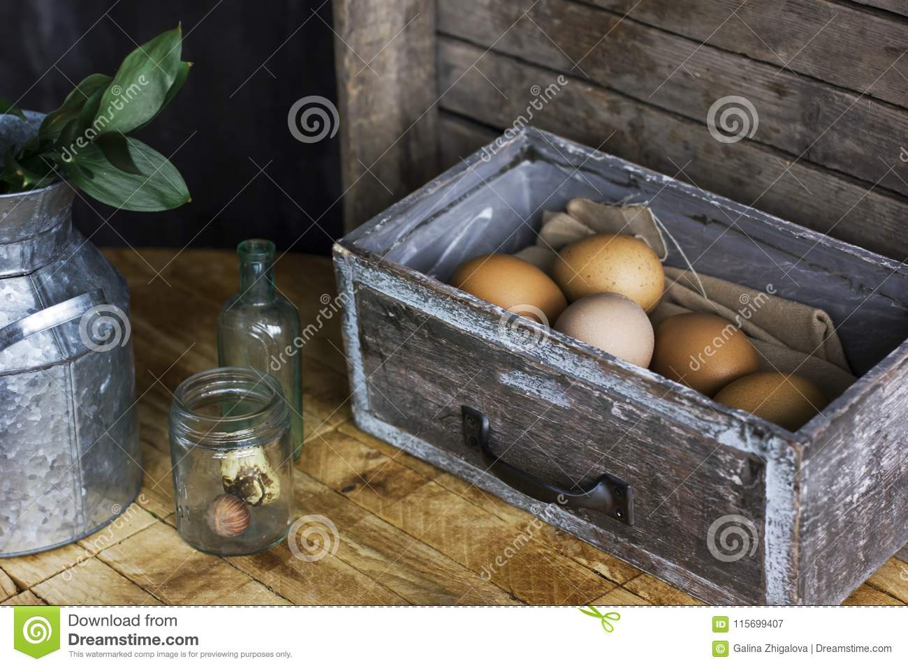 Brown Chicken Eggs In Old Wooden Box Home Farm Stock Image Image