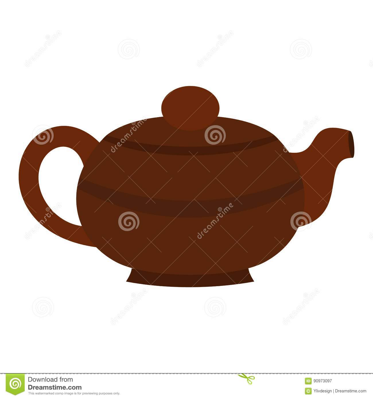 Brown Chinese Teapot Icon Isolated Stock Vector - Image ...