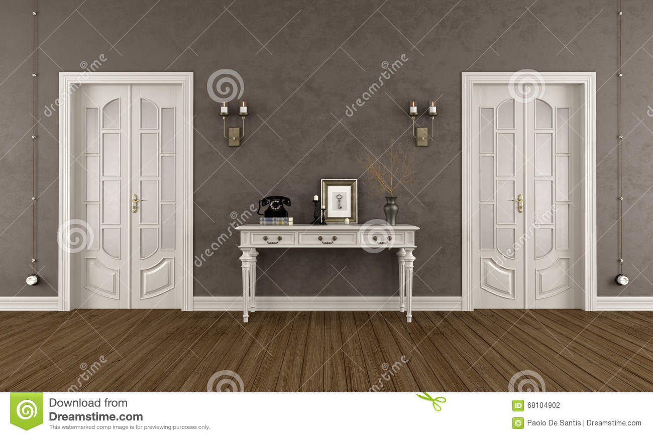 Brown Classic Room With Doors Stock Illustration Image