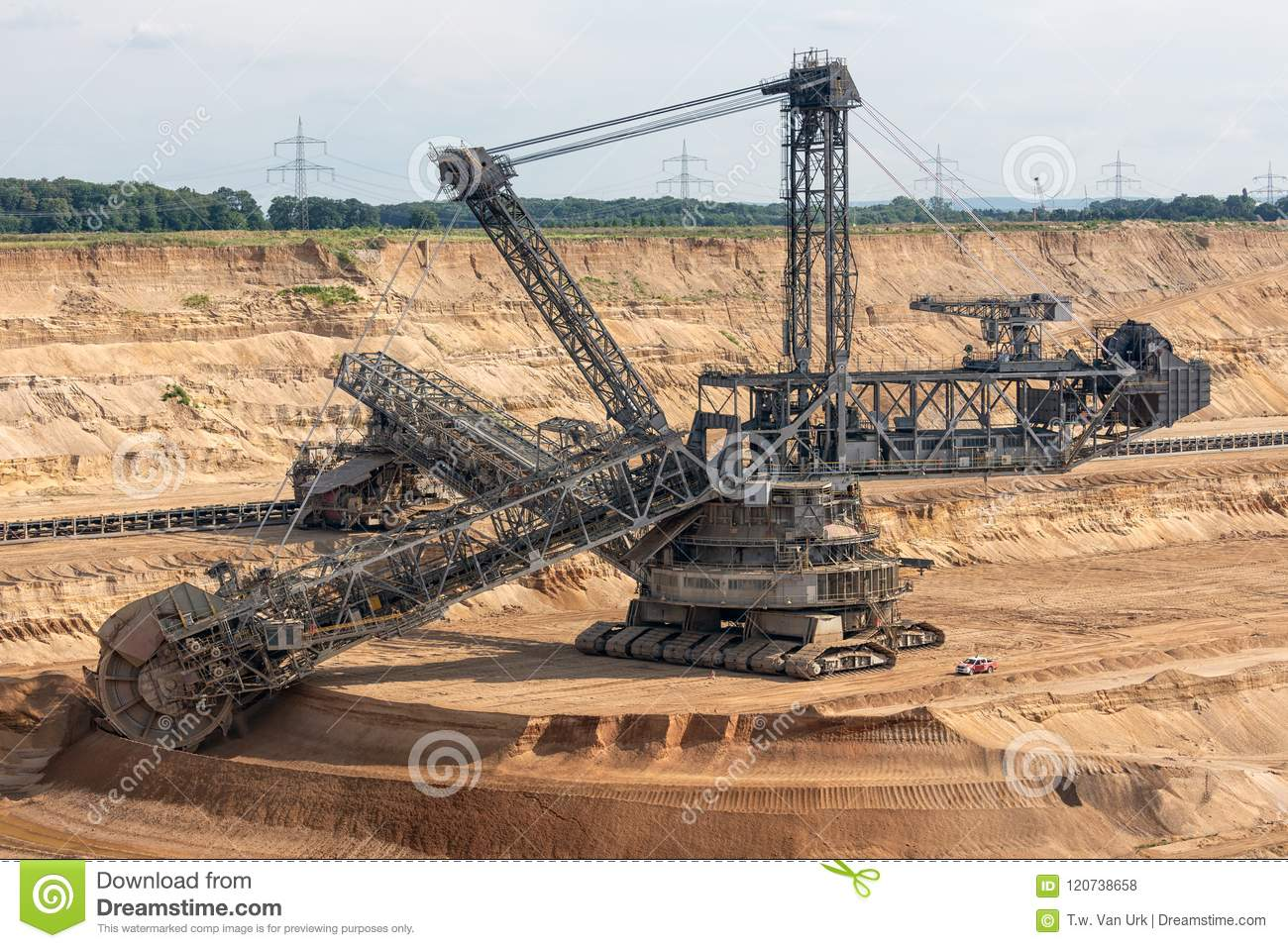 Brown Coal Open Pit Landscape With Digging Excavator In Germany Stock Photo Image Of Coal Environment 120738658
