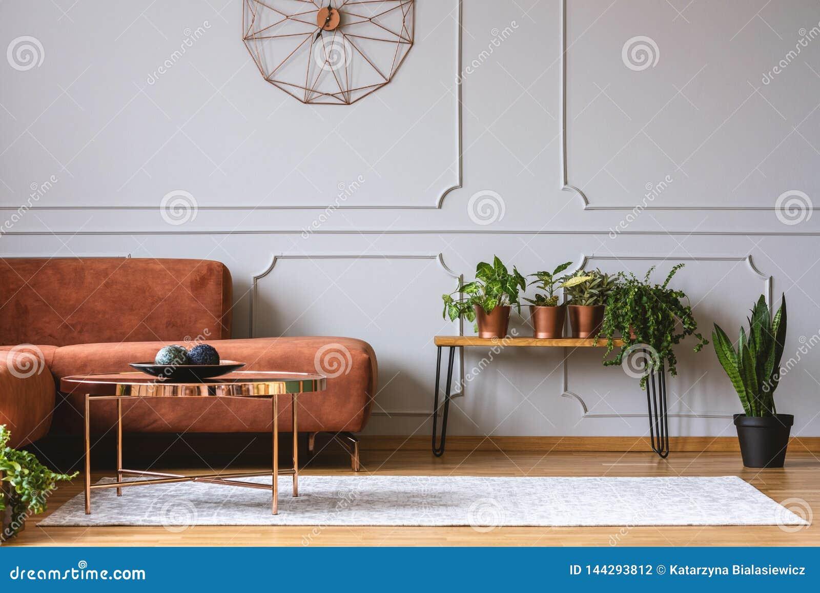 Brown Comfortable Corner Sofa In Elegant Living Room Stock