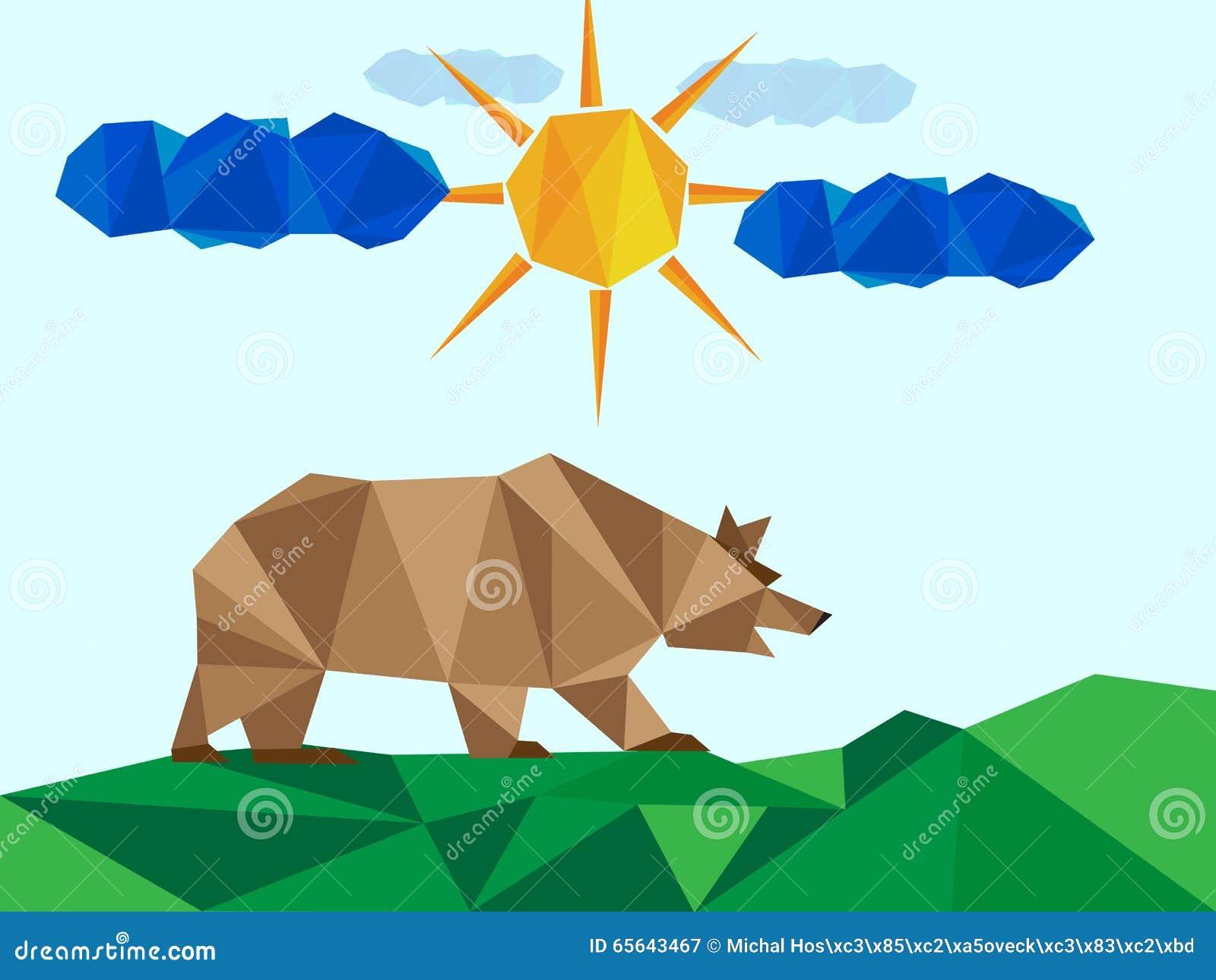 Brown concernent le paysage avec le soleil et des nuages