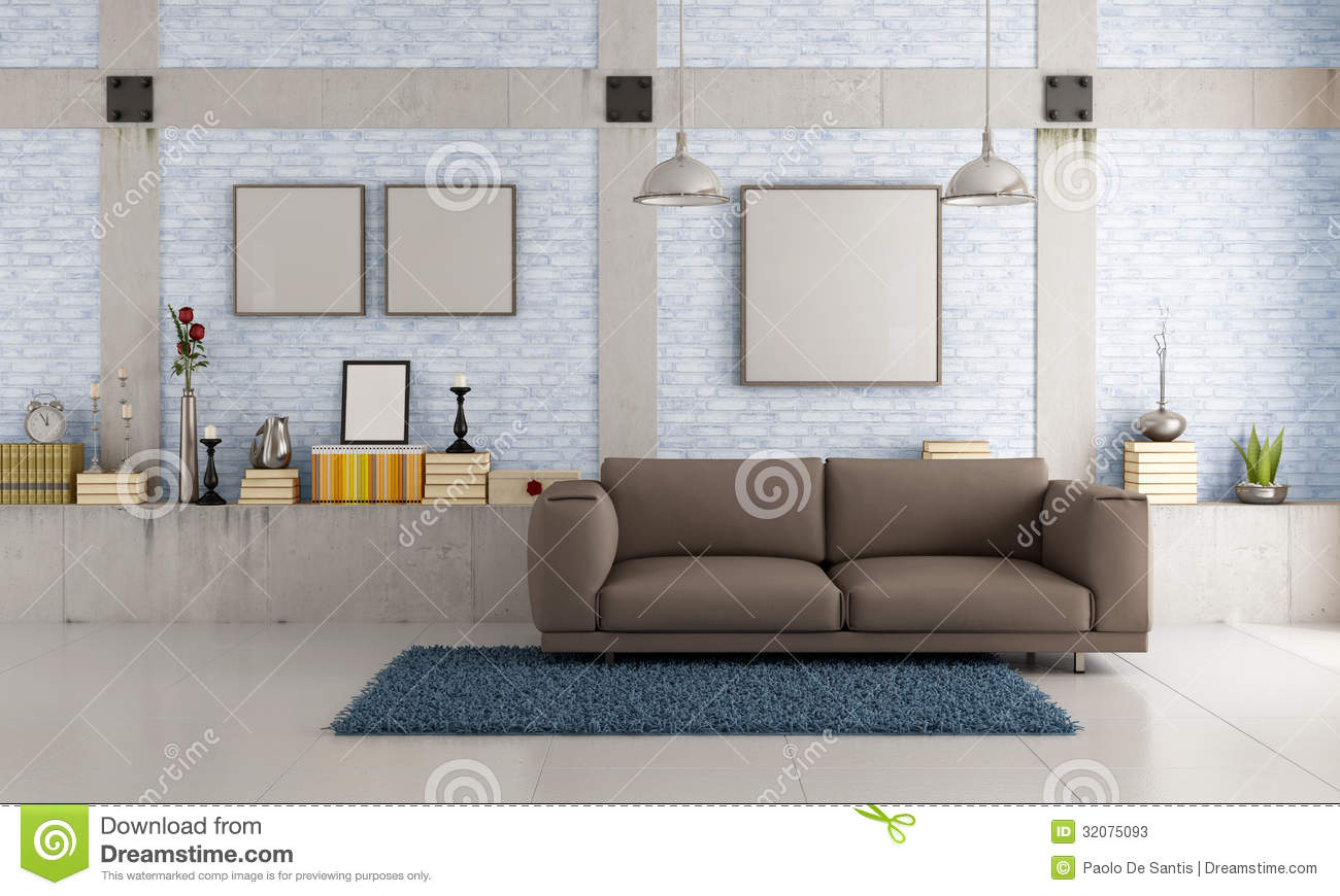 Brown Couch In A Loft Stock Illustration Illustration Of