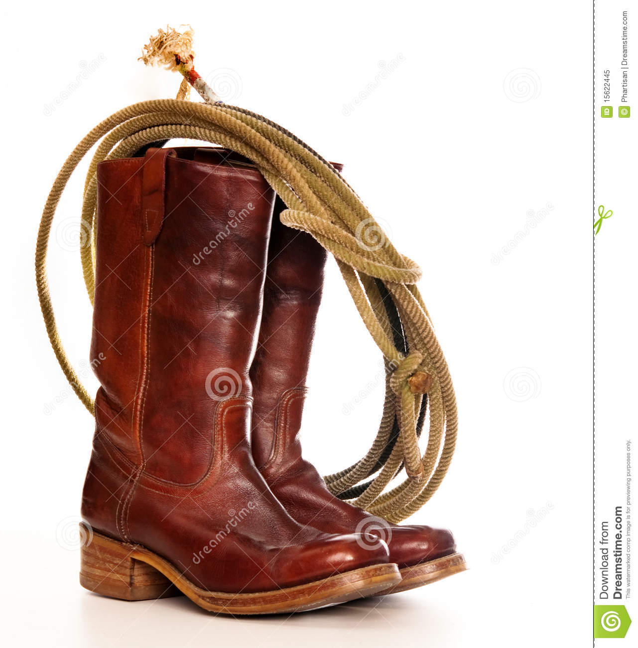 ... of a pair of brown cowboy boots and a Lasso on a white background