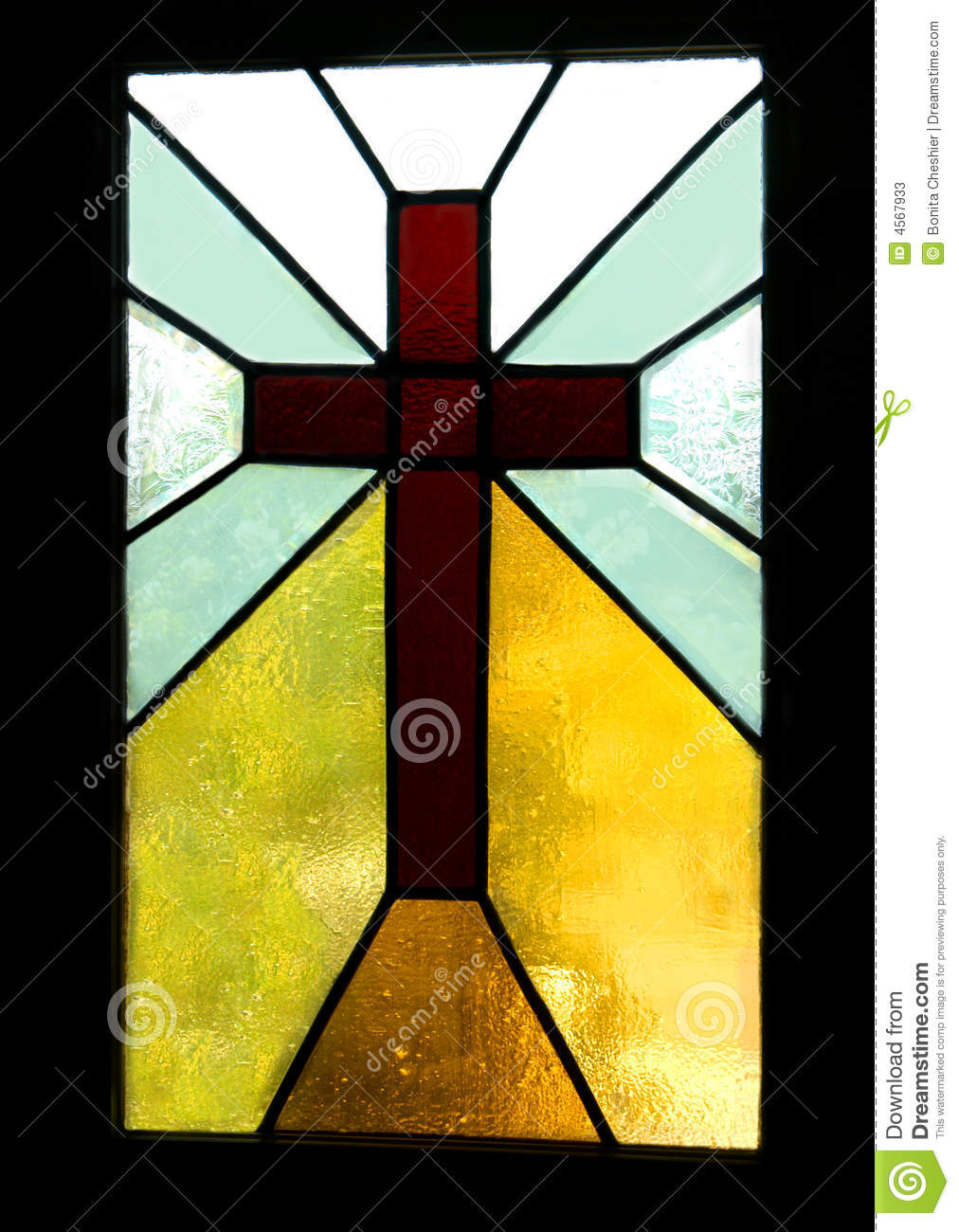 Brown Cross In Stained Glass