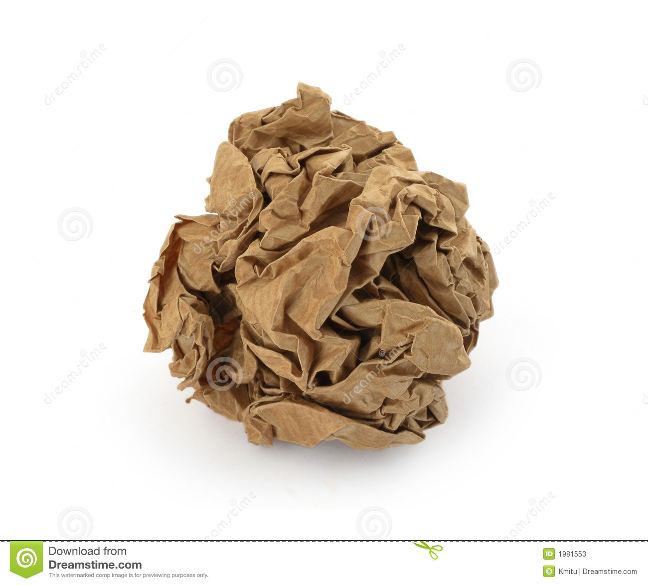 brown crumpled paper ball
