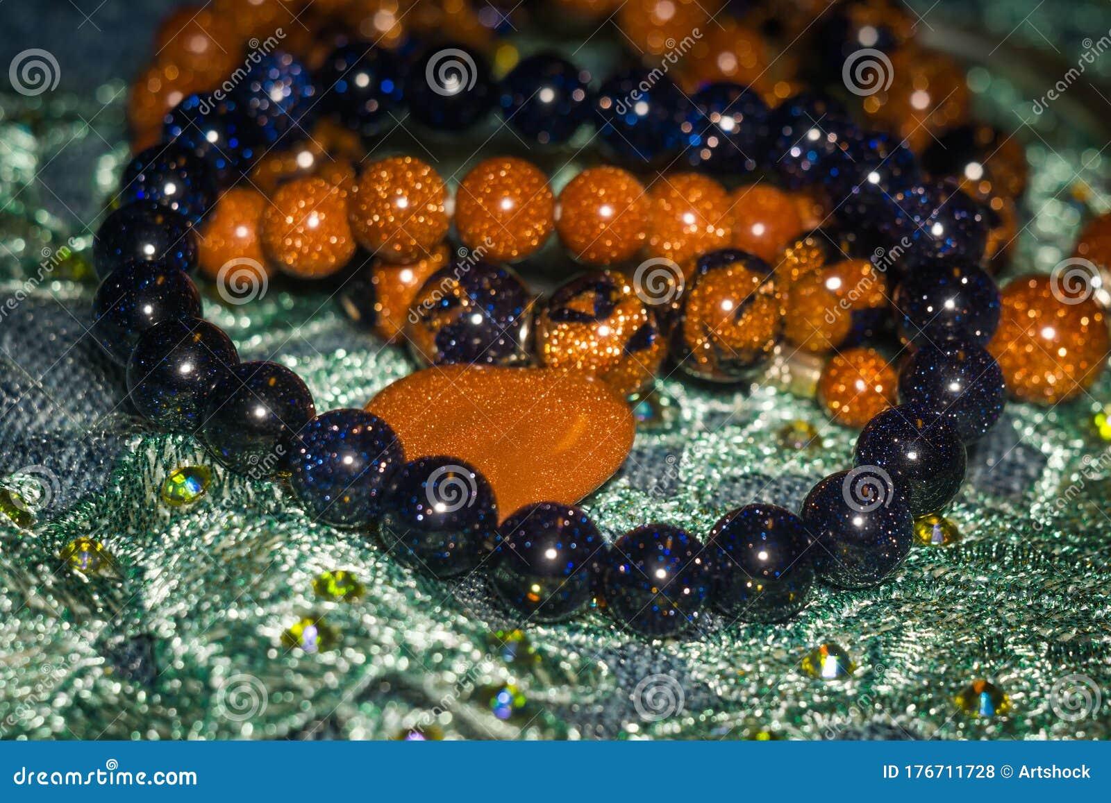 Blue and Orange Sparkle Beaded Bracelet