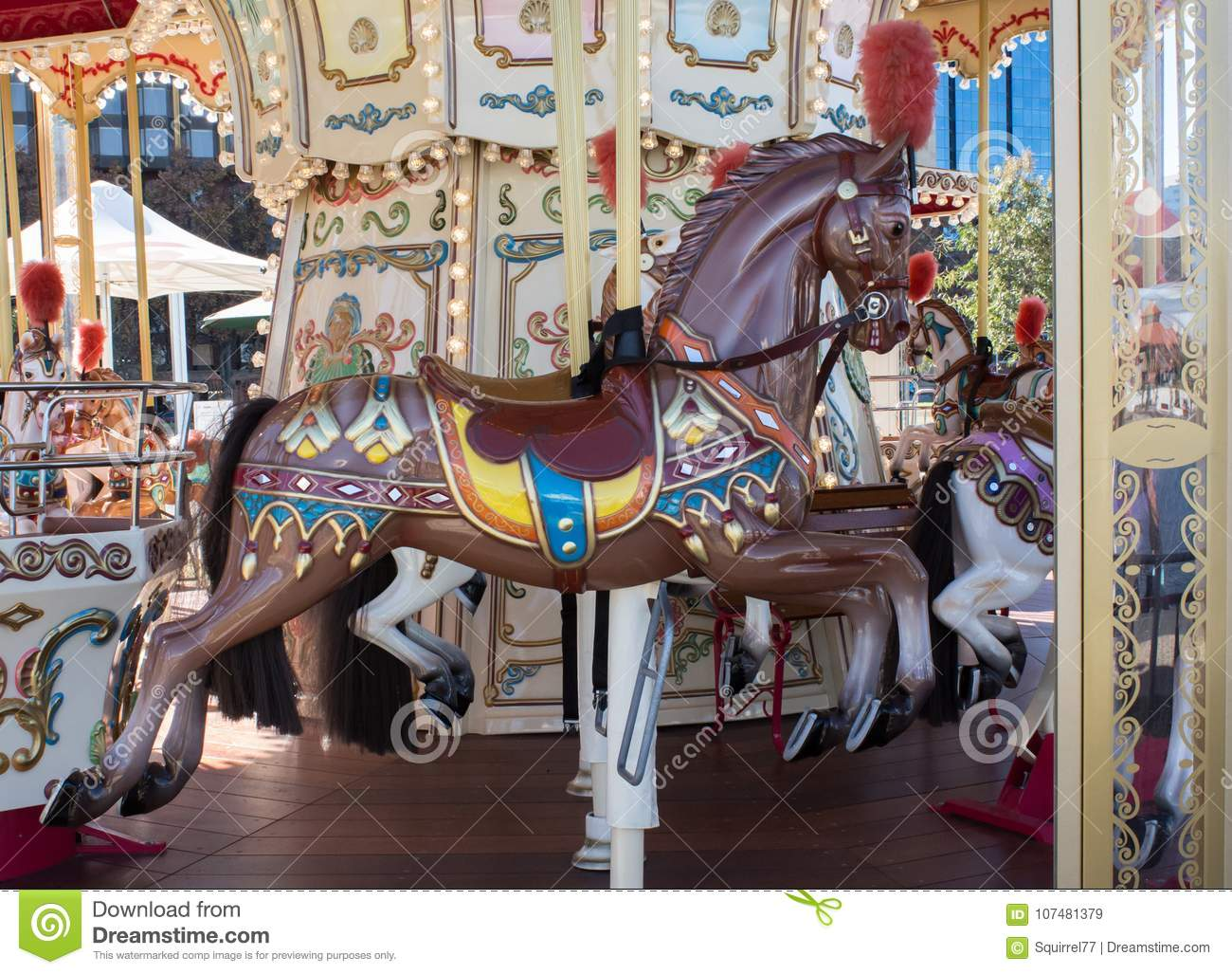 brown vintage decorative carnival horse on merry go round carousel