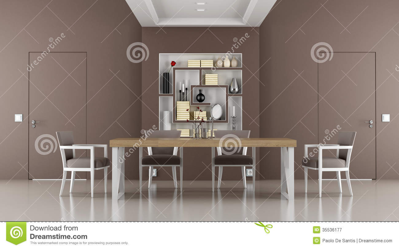 Brown Dining Room With Two Doors Flush With The Wall And Bookcase