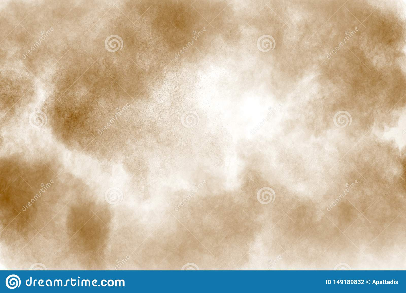 Brown dust cloud.Brown particles splattered on white background