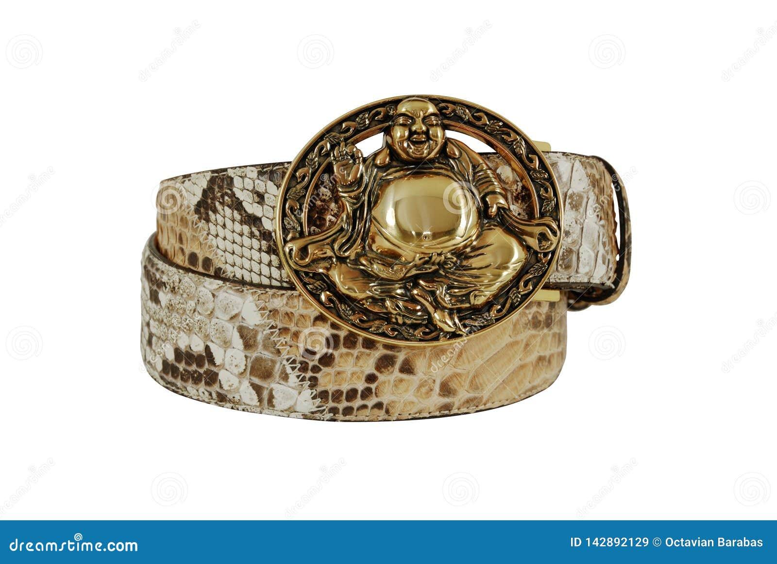 Brown e cinghia di cuoio bianca del serpente con il fermaglio dorato di Buddha su fondo bianco