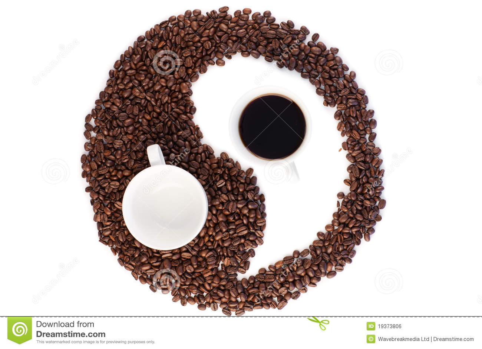 Brown e símbolo branco feitos de feijões de café