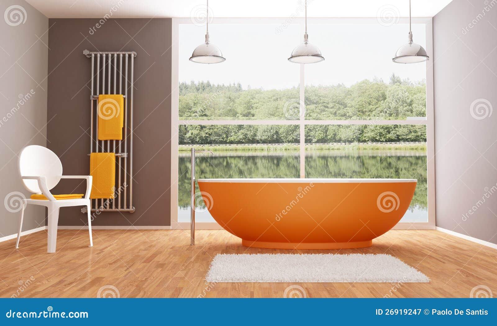 Brown e stanza da bagno moderna arancione fotografia stock - Bagno arancione ...