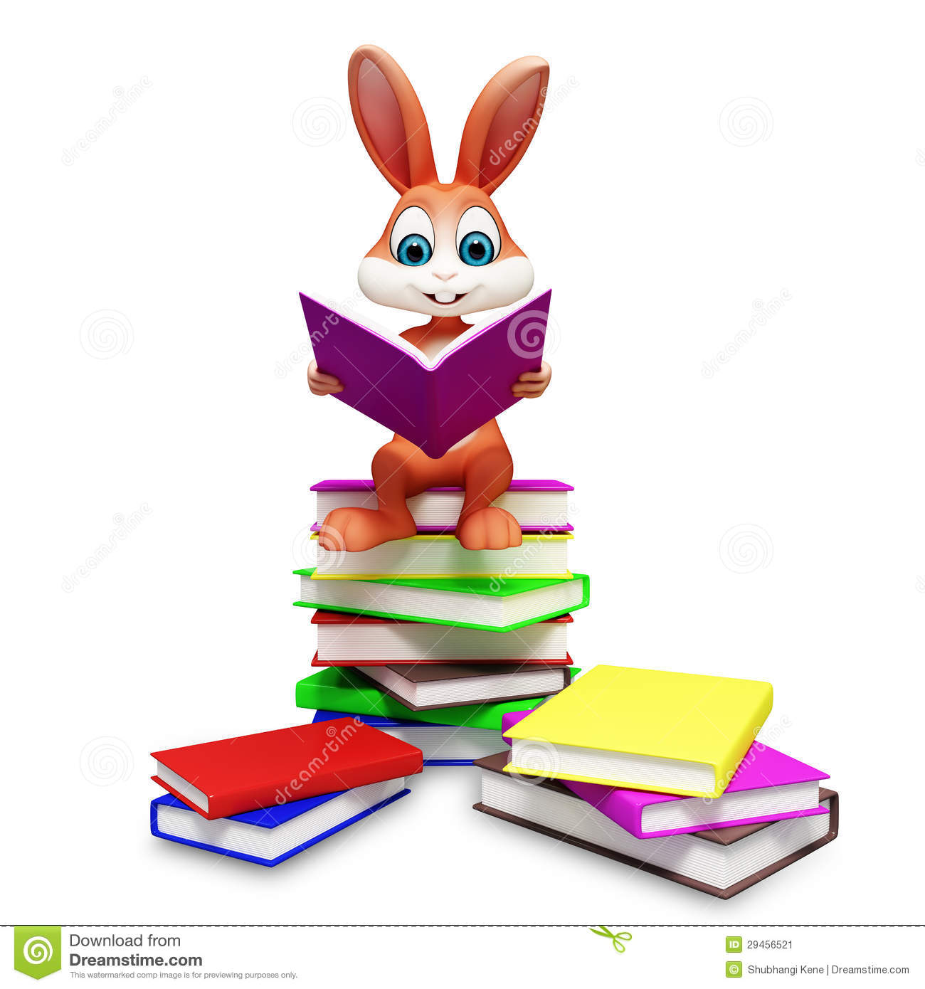 Brown Easter Bunny With Reading Book Stock Image Image 29456521