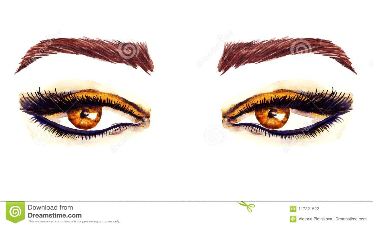 Brown Eastern Almond Shaped Eyes With Makeup Golden Brown
