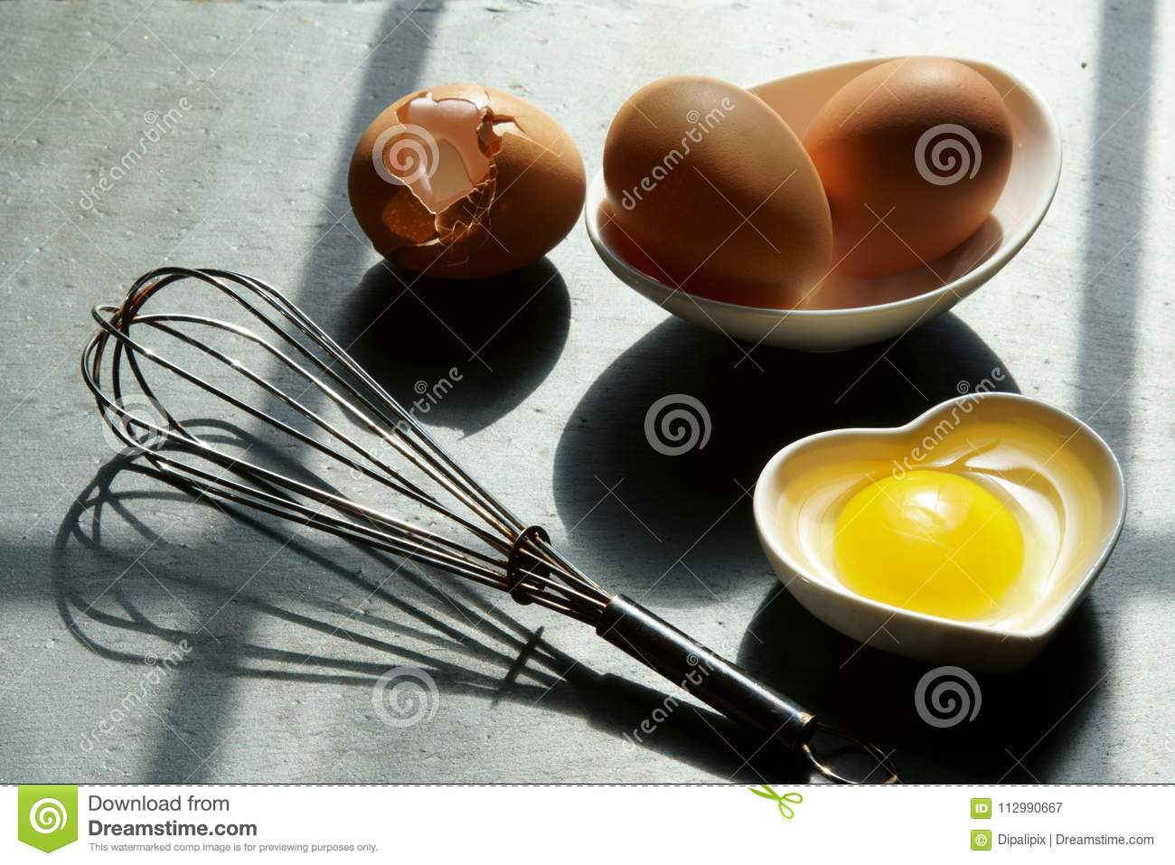 Brown eggs with a broken shell