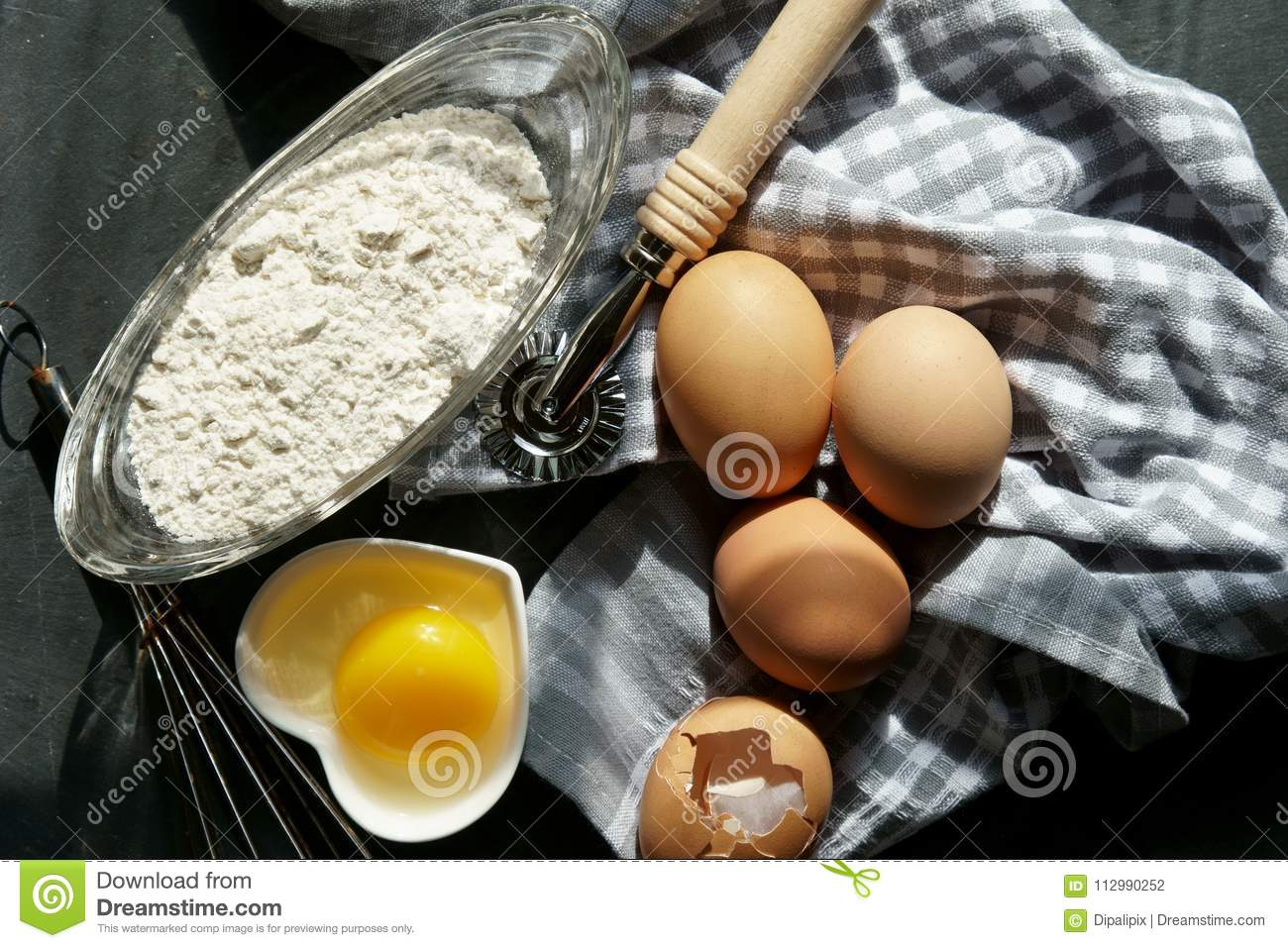 Brown eggs with flour