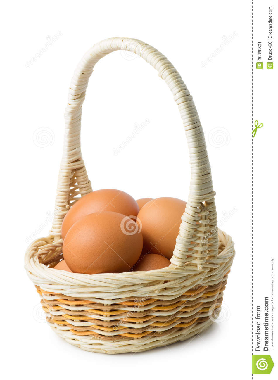 White wicker baskets with handle - Brown Eggs In Wicker Basket With Long Handle