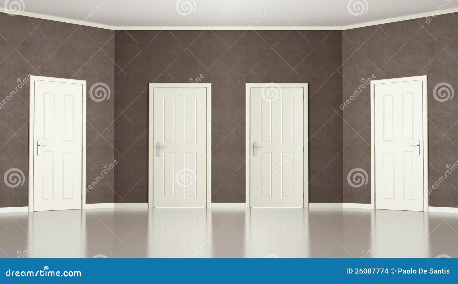 Stock Room Doors : Brown empty room with four doors stock illustration