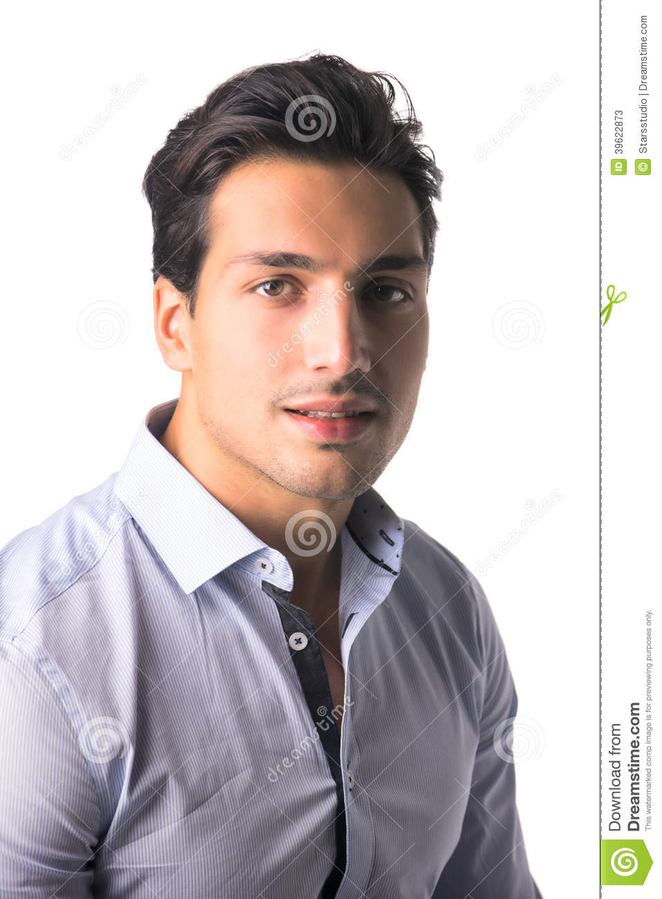 Brown Eyed Black Haired Latin Man On White Background Stock