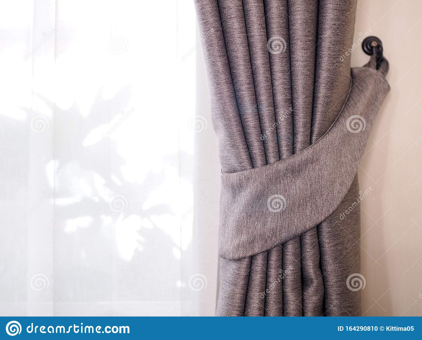 Brown Fabric Curtains And White Sheer Curtains Decor In Living Room Stock Photo Image Of Curtains Background 164290810