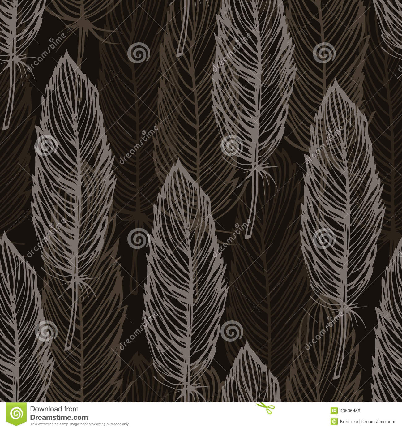 Brown feather outline seamless pattern, vector background. Peacock Pattern Outline