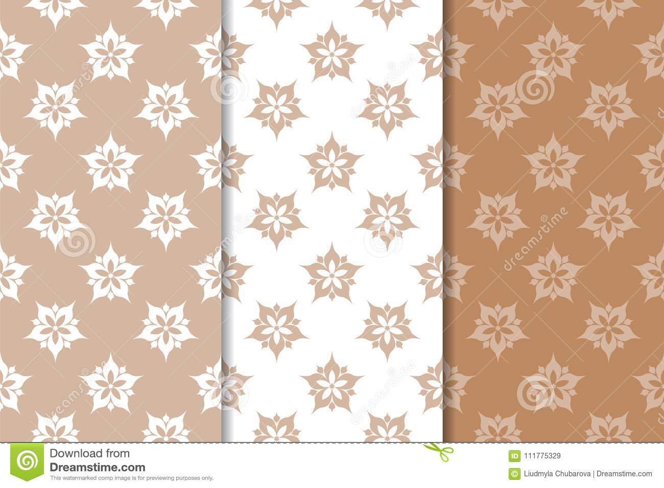 Brown floral backgrounds. Set of seamless patterns