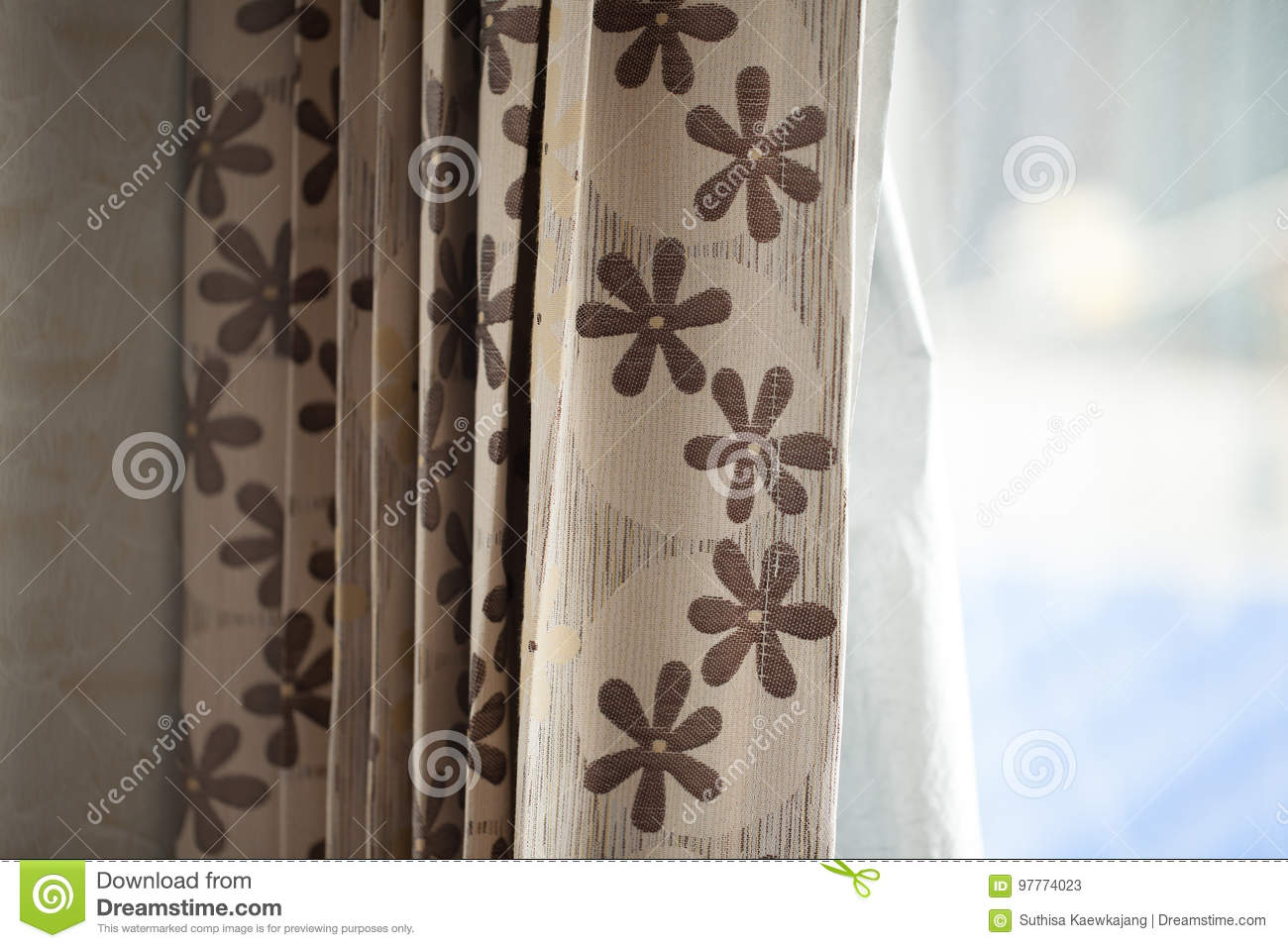 Brown Floral Curtains And Light Coming From The Windows Stock Image Image Of Background House 97774023