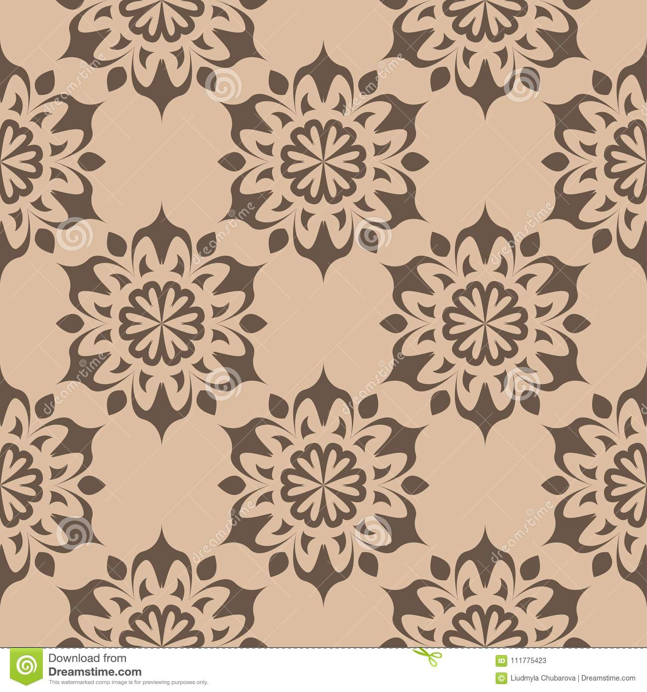 Brown floral ornament on beige background. Seamless pattern