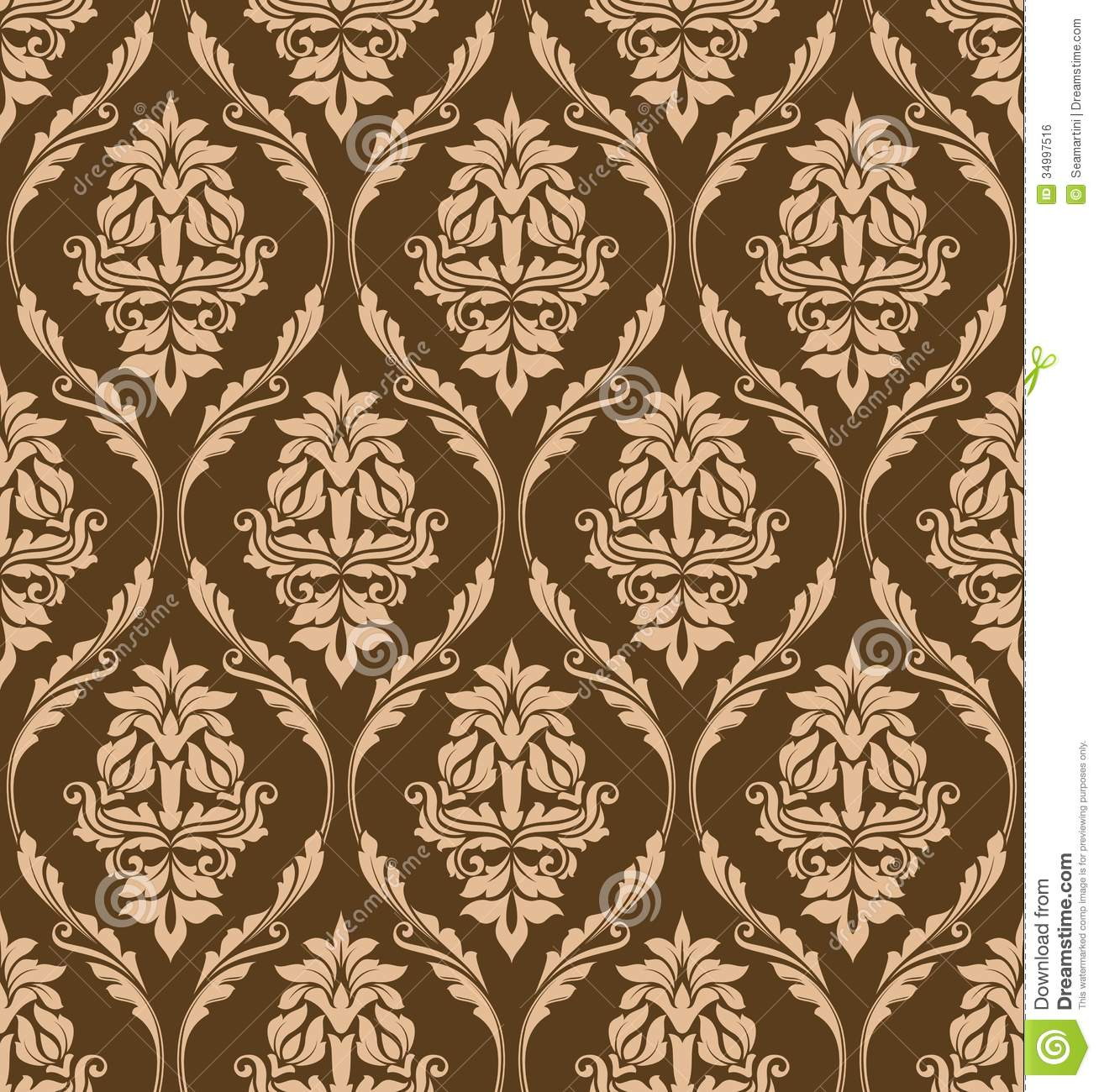 Brown Floral Seamless Pattern Royalty Free Stock Image - Image: 34997516