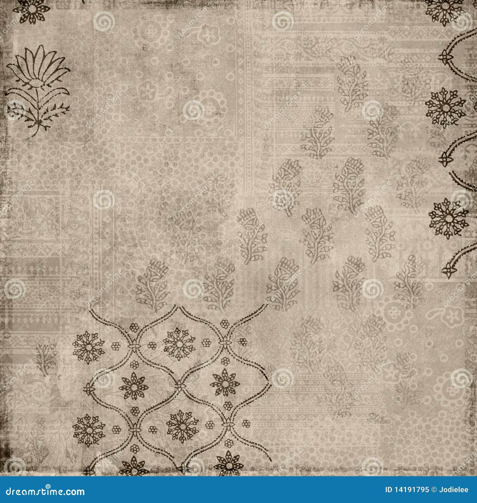 Brown Floral Vintage Style Batik Stamp Background Royalty